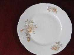 MZ Csehszlovák porcelán lapostányér, hófehér alapon barna rózsával.