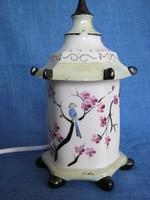 Virágos madaras porcelán pagoda alakú lámpa