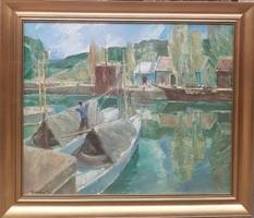 Udvary Pál (1900-1987 ) Balatoni Vitorlások