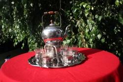 Csodaszép régi teáskészlet melegítővel VMF Wesam alpakka
