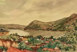 Ismeretlen festő Visegrádi látkép 40-50-es évek EREDETI GARANCIÁVAL !