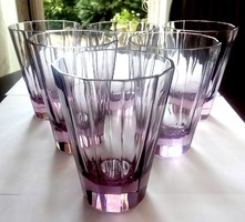 Lila lapra csiszolt üveg poharak 6db 10cm-esek