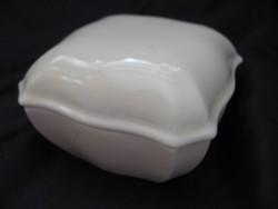 Fehér barokk bonbonier, ékszertartó, dobozka Zsolnay