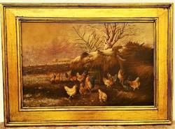 Ismeretlen festő Baromfiudvar c. olajfestménye 1910-20 körüli 85x60cm Eredeti Garanciával !!