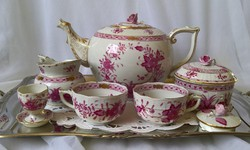 Herendi indiai kosármintás teás-készlet 2 személyes