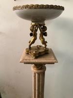 Barokk puttós -angyalos bronz-porcelán gyümölcstál-asztalközép-kínáló
