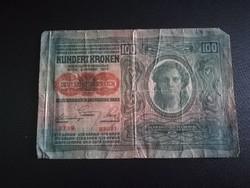 1912-es 100 korona DÖ felülbélyegzett