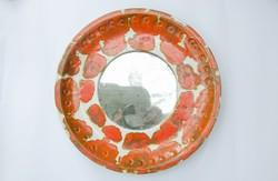 Retro kerámia fali tükör - tükörkeret - iparművész falitányér falidísz