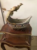 Bronz -porcelán madaras asztalközép