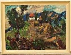 Séday Éva (1929 - 2011) Szalmakazal c. Képcsarnokos olajfestménye 86x66cm Eredeti Garanciával !!