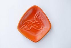 Tófej lovas mini falitányér -  narancssárga ló mintás falitál, falidísz vagy hamutartó