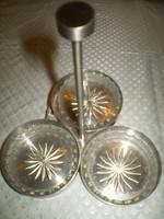 ASA Selection Germáni fém üvegbetétes 3 részes kínáló hibátlan