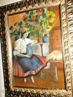 """Bendéné  Kovacsev Friderika, 50x35-s karton pasztell   """" A macskát tejjel kínáló leány"""""""