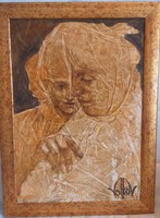 Mihail Volkov Gondolkodók 2014, keretezett festménye