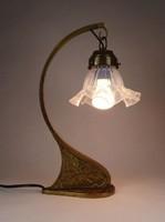 0X878 Régi szecessziós réz asztali lámpa