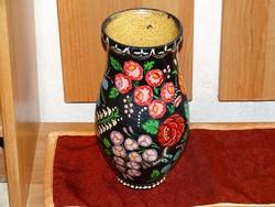 Kalocsai mintás kézzel festett népművészeti kerámia köcsög váza