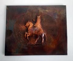 Szent István bronz falikép