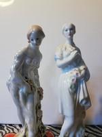 Gyönyörű festésű, jelzett balerinák párban ( 20, 21 cm )