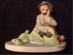 Múzeumi Emmett Kelly,világhírű jelzett Bohóc Porc Szobra