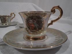 Porcelán - NSZK - P. M - aranyozott - 14 db - os  - csésze 0,5 dl - alj 11 cm -NEM  KOPOTT