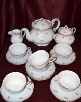 Zsolnay barokkos tollazott, szórt virágos teáskészlet  ( DBZ 00123 )