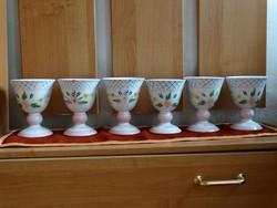 Herendi 6db-os kehely pohár készlet szett Elizabeth Barrett Roache 1993