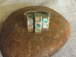 Erdélyi antik szecessziós ezüstgyűrű gyöngyház berakással