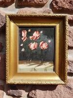 Murin Vilmos: Szent Erzsébet rózsa, olaj, festőkarton 23x28cm, festmény, csendélet. Antik képkeret.