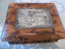 Szép régi ezüstözött tetejű ékszeres doboz