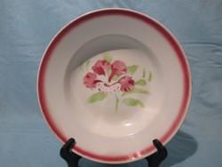 Kispesti Gránit mély tányér rózsaszín virággal