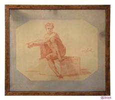 """Lotz Károly (1833-1904) """"Ülő férfi akt"""" tanulmányrajz seccóhoz /vörös és fehér kréta/"""