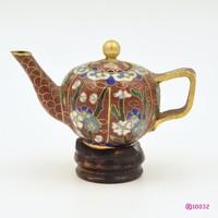 Kínai Cloisonné teáskanna sárgaréz alapon színes rekeszzománc 1900-1939