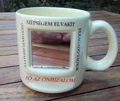 Sárga porcelán tükrös bögre,csésze,pohár