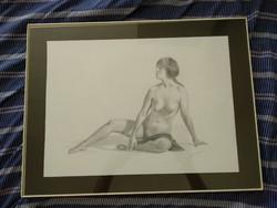 Szignós grafika, női akt, papír alapon üvegezett keretben