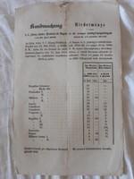 Hirdetmény 1854-ből
