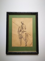 Szalay Lajos tusrajz festmény