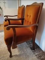 Gyönyörű faragott antik fotel - karosszék, karfás szék barna bársonnyal