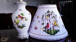 EXKLUZÍV ÚJ ERNYŐVEL! 60cm-es Rothschild mintás Herendi porcelán asztali lámpa
