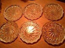 6 +2 lapos kristálytálka, üvegtányér vagy poháralátét