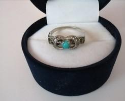Antik ezüst gyűrű türkiz és markazit kövekkel
