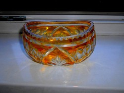 Antik olomkristály tál-- masszív , szép kézműves darab