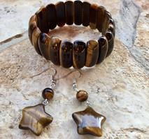 Barna tigrisszem ásvány ékszer széles karkötő csillag alakú fülbevaló