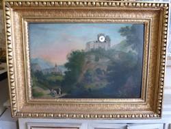 1828 / biedermeier zenélő képóra