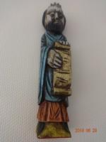 Fából faragott, festett falidísz, figura, Mózes a kőtáblával (Spanyolországból)