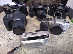 Fényképezőgép csomag 3 Minolta egy Olympus, egy Practica és egy Zenit
