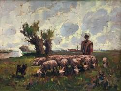"""Rákosi Uitz János (1887-?) """" Legelésző nyáj.."""""""