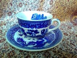 Antik japán kerámia,  fűzfa motívumos csésze aljjal