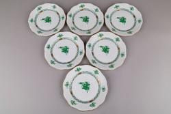 6db Herendi zöld Apponyi mintás süteményes tányér II.