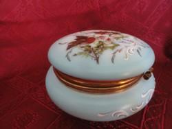 , Bonbonier antik, kézzel festett  Világoskék tejüveg, nyitható tetővel.
