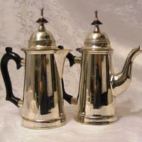 Ritka, jelzett, antik, ezüstözött, szép állapotú, teás és kávés kanna, elegáns, karcsú kivitelben